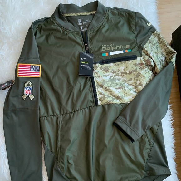 promo code 69288 8b587 NWT Army Green Nike NFL Miami Dolphins Sweater NWT